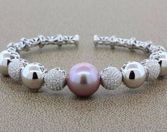 Pink South Sea Pearl Diamond Gold Bangle Bracelet