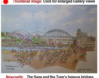 Newcastle Tyne Bridge, Newcastle Sage Music Centre, Newcastle upon Tyne Millennium Bridge, Tyne Quayside, Original Painting, esty TyneArt