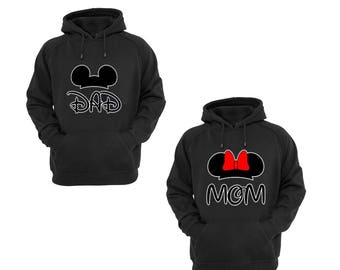 Hoodies for Mom Minnie and Dad Mickey Mouse Disney Pullover Hooded Sweatshirt