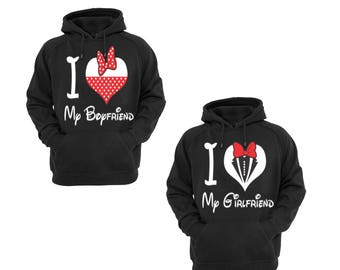 Hoodies for Couple I Love My Boyfriend,I Love My Girlfriend Disney  Couple Goal Popular Designs