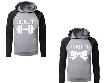 Two Color Hoodies for Couples Beast & Beauty Cotton Pullover Hooded Sweatshirt, His and Her Cool Gray-Black Raglan Hoodies
