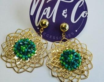 Flower Shaped Gold Plated Earrings