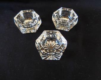 Vintage Set of three salt cellars/Salt dip/Clear Glass