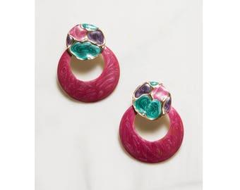 1980s Pink Metallic Swirl Hoop Earrings