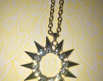 Rhinestone and spikes necklace