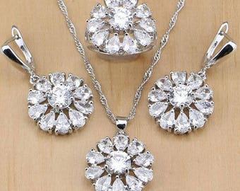 White stones CZ necklace set.