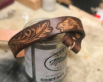 Custom tooled high quality leather belts