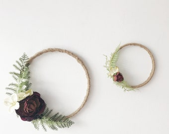 Burgundy Peony & Fern Wreath Duo