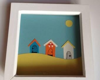 """Beach Huts Handmade Wall Art 7""""x 7"""" White Box Frame"""