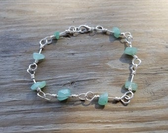 Aventurine Natural Stone Chip Wire Wrapped Link Bracelet