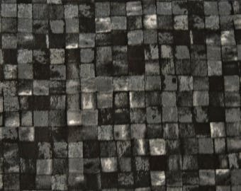 "1/2 YD - 44"" Black Mosaic Cotton Fabric"