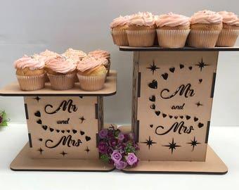 Mr & Mrs Cake cube cake stand-Wedding cake display stand