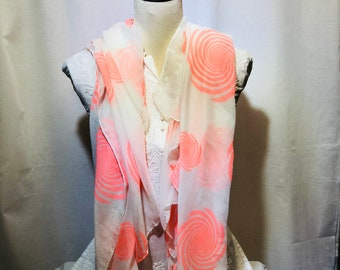 White printed scarf | summer collection | light weight | hand woven