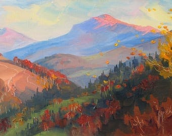 Аutumn Mountains, Golden autumn, Evening Landscape, Carpathian Mountains, Original painting, Canvas Painting, Oil art by Anna Trachuk