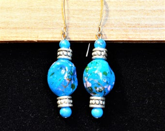 Turquoise Blue and Silver Drop/Dangle Earrings