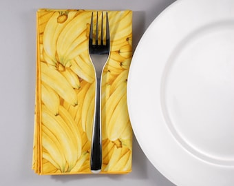 Banana Dinner Napkin --- Set of 4