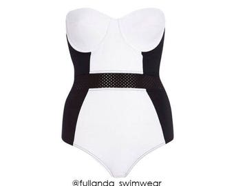 Black and White Block one-piece swimsuit