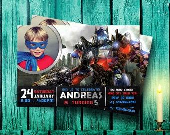 Transformer Invitation,Transformer Birthday,Transformer Party,Transformer Birthday Party,Transformer Birthday Invitation,Transformer-F0145