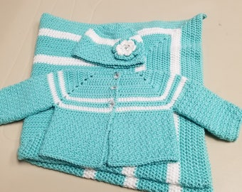 Baby Girl Crochet Sweater with Beanie Hat and Blanket