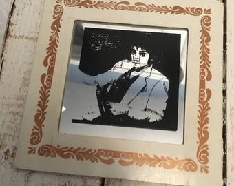 Vintage 1980's Michael Jackson Mirrored Picture.