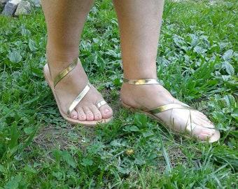 Genuine leather Sandals,Leather Greek Sandals, Wedding Sandals Women's Sandals,Easter Gift,Gold Sandals,Strappy Sandals,Summer Sandals