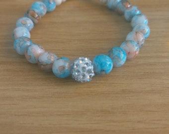 Blue Sparkly Shamballa Bead Bracelet