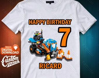 Lego Truck Iron On Transfer, Lego Truck Birthday Shirt DIY, Lego Truck Shirt Designs, Lego Truck Printable, Personalize, Digital Files