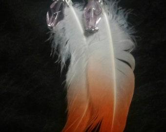 Flamingo feather earrings