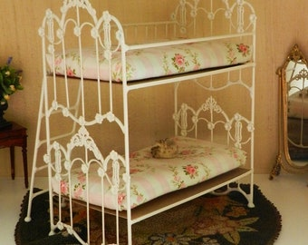"Artisan Made 1:6 Playscale, Barbie Scale Wrought Iron Look Bunk Bed ""Marigold"""
