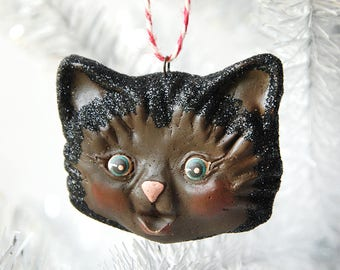 Kitty Ornament/ Black and Brown