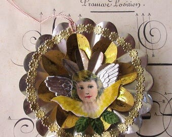 Vintage Style Christmas Ornament Victorian Angel Scrap Dresden Medallions Tin Reflectors 3 Layers