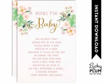 Flamingo Book Card / Tropical Book for Baby / Luau Book Insert / Flamingo Book Insert / Tropical Book Card / Pink Green Printable / FG01