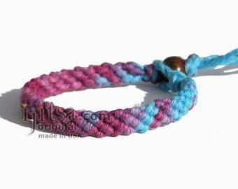 Ultra Soft Rainbow Burgundy/Purple/Blue Hemp Diagonal Woven Surfer Bracelet/Anklet