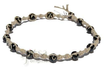 Natural twisted hemp necklace with black bone beads throughout