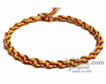Yellow Burgundy Wide Twisted Hemp Choker Necklace