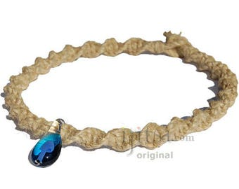 Natural Thick Wide Twisted Hemp Necklace with Blue and light Blue Glass Mushroom