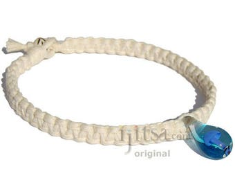White Wide Flat Hemp Necklace with Light Blue Glass Mushroom