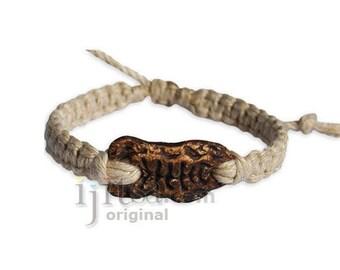 Natural hemp bracelet or anklet with Fishbone ceramic bead