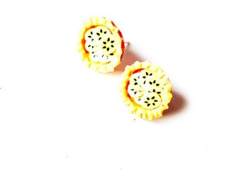 Stud Earrings BANANA TARTLETS -- miniature polymer clay banana tartlets by The Sausage