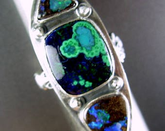 ARTIST PICK Azurite malachite by Joe Jelks lapidary, Australian boulder opal recycled vintage teaspoon band 9+ ring OOAK Chelle' Rawlsky