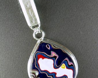 Detroit fordite 925 sterling silver pendant upcycled / recycled vintage ID bracelet bale silversmith jewelry designer Chelle' Rawlsky OOAK