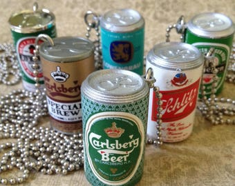 """Vintage Beer Can Necklace - Low Brow Drinking Class Punk Skinhead Novelty Jewelry 30"""" Ball Chain"""
