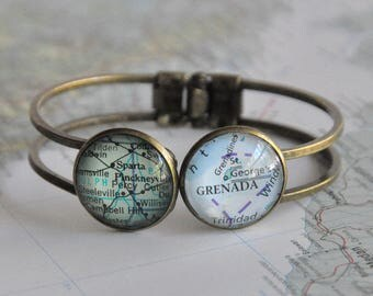 Personalized Valentine Gift for Her Gift for Sister Gift for Mom Long Distance Relationship Personalized Map Cuff Bracelet