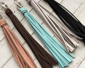 """Large Tassel Keychain - 8"""" Faux Leather Tassel - Big Tassel Purse Charm, Handbag Tassel, Backpack, Boho (ST122)"""