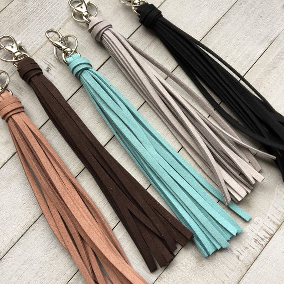 "Large Tassel Keychain - 8"" Faux Leather Tassel- Choose from 5 Colors - Big Tassel Purse Charm, Handbag Tassel, Backpack, Boho (ST122)"