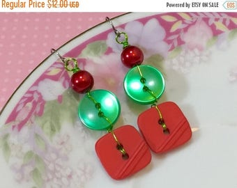Christmas in July SALE. Christmas Earrings, Button Earrings, Shiny Green Pearl, Vintage Red, Glass Pearl, Surgical Steel, KreatedbyKelly