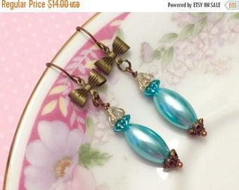 SALE Blue Bow Earrings, Vintage Assemblage Earrings, Blue Pearl Earrings, Quirky Bow Earrings, Blue Flower Earring, KreatedByKelly