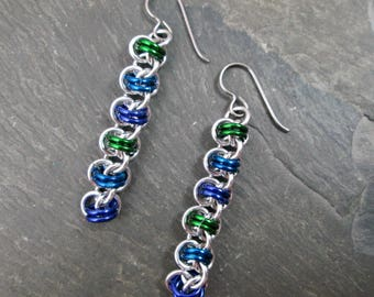 Chainmaille Earrings - Chainmail Jewelry - Green Blue and Purple - Chainmaille Jewelry - Barrel Weave - Dangle Earrings - Chainmail Earrings