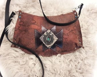 Reclaimed Python Print Suede with Metallic & Turquoise Crossbody Bag
