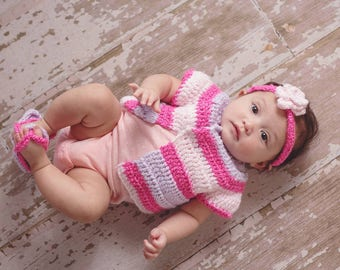 Baby Girl Sweater, Hat, Booties Combo in the colors of your choice (each hat purchase benefits children with cancer)